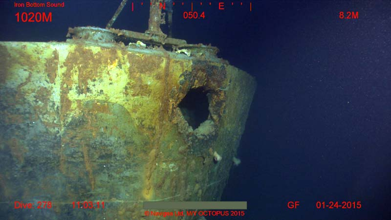 Image 12 Vincennes shell hole in stern 1