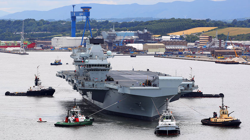 Aircraft Carrier HMS Queen Elizabeth Sails for the First Time