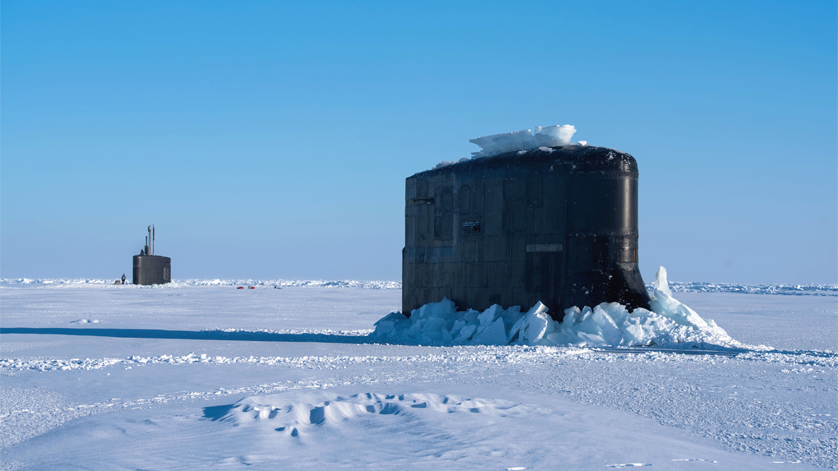 Submarines USS Hartford, USS Connecticut Surface in the Arctic Circle