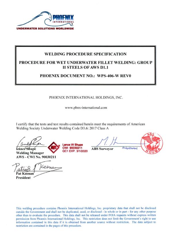 Phoenix Receive ABS Class A Wet Welding Approval | Subsea