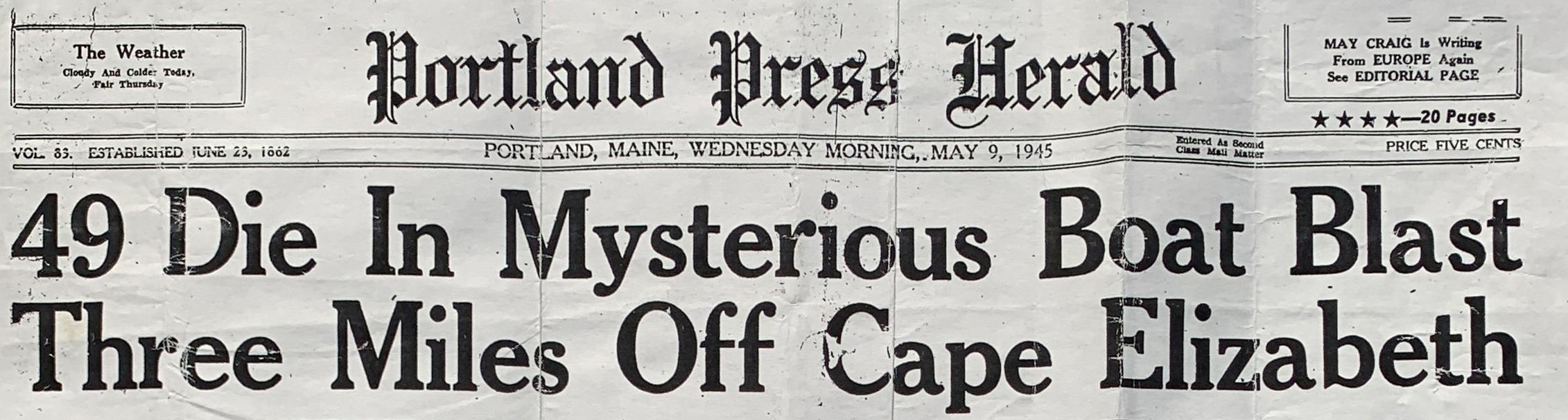 Embed 1 Portland Press Harold May 9 1945 Headline