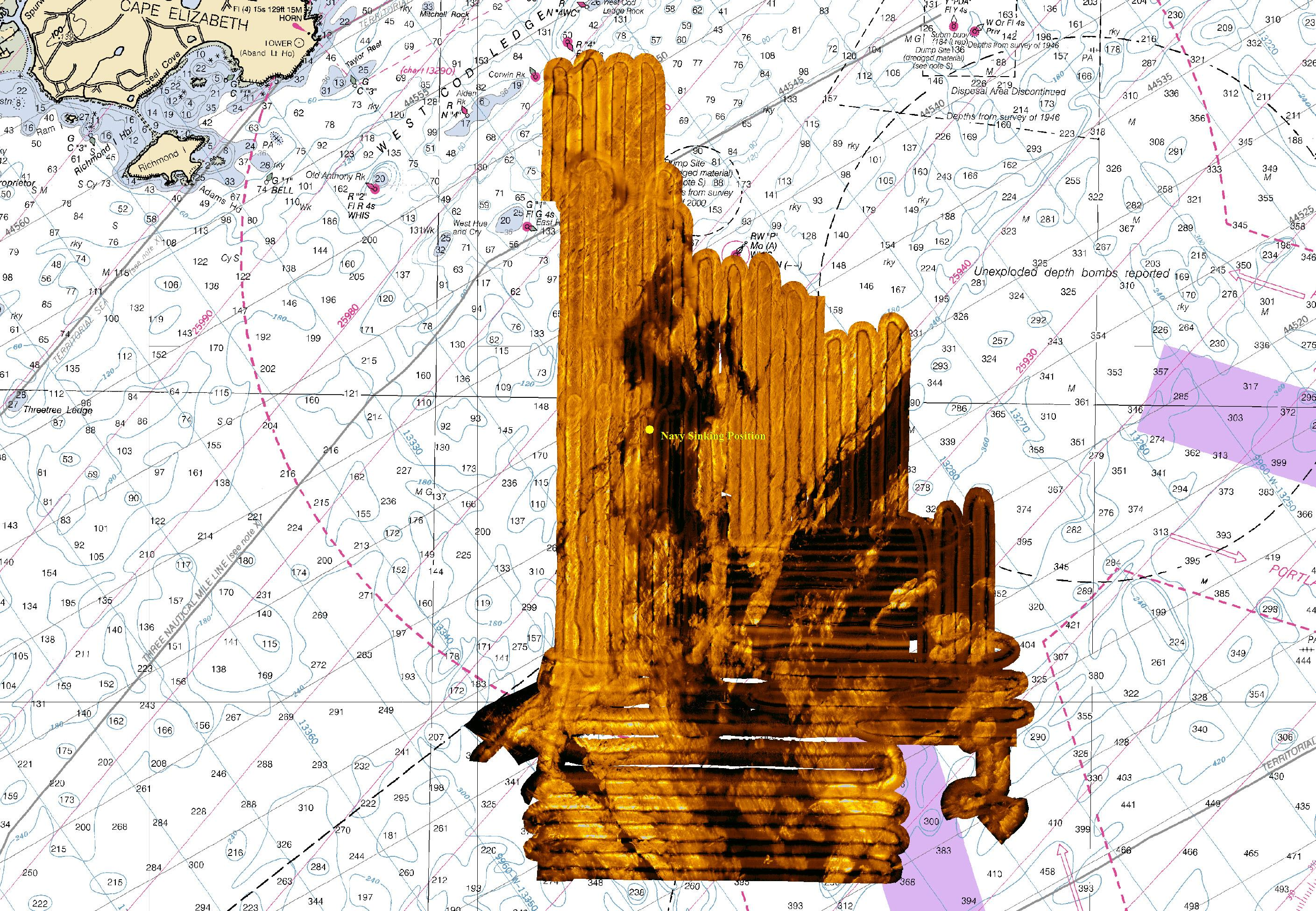Embed 4 37 Sq. Miles Total Area searched with Side Scan Sonar Navy Officila Sinking Position