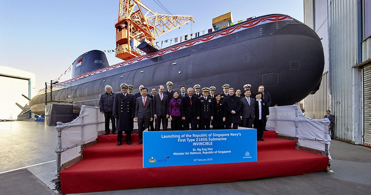 Launching of Singapore's First Type 218SG Submarine