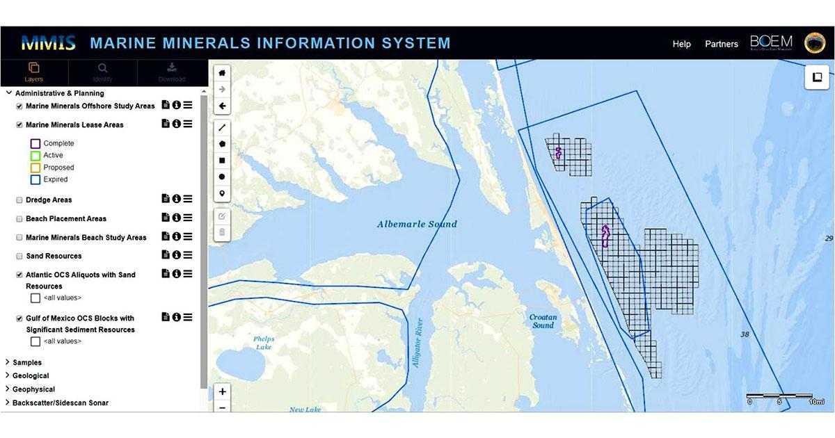 BOEM's New National Marine Minerals Information System Enhances Coastal Recovery and Resilience Planning