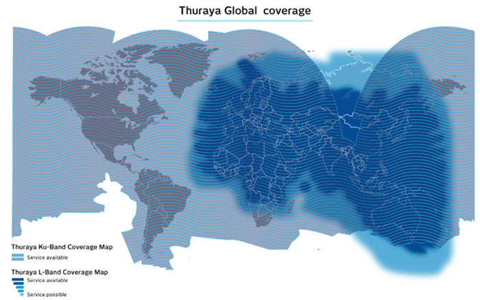 2 Thuraya VSATand L Band Coverage