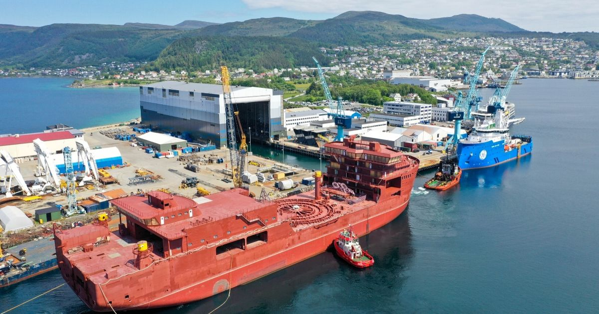 Cable Laying Vessel Nexans Aurora Being Outfitted at Ulstein Verft