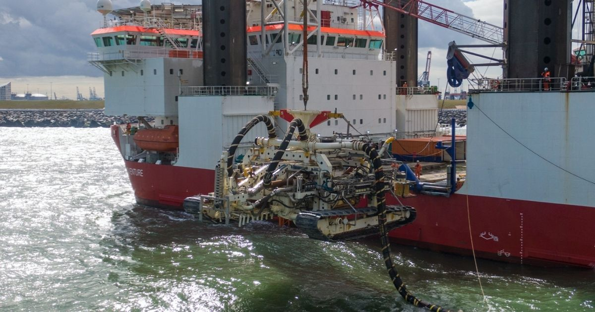 Van Oord's Deep Dig-It Trencher Laying Offshore Wind Cables in the North Sea
